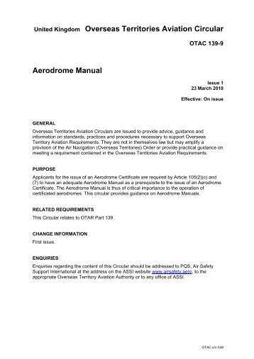 civil aviation safety authority manual of standards