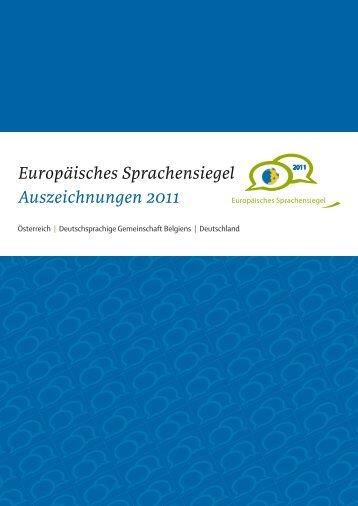 Broschüre: Europäisches Sprachensiegel. Auszeichnungen 2011