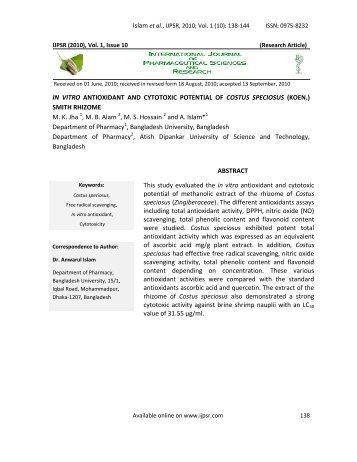 in vitro antioxidant and cytotoxic potential of costus - International ...