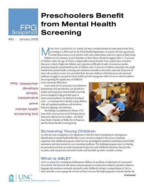 Screening Mental Health In Kindergarten >> Preschoolers Benefit From Mental Health Screening Fpg Child