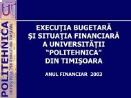 Executia bugetara si situatia financiara a Universitatii