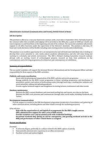 Law School Admin Assistant - Job Description