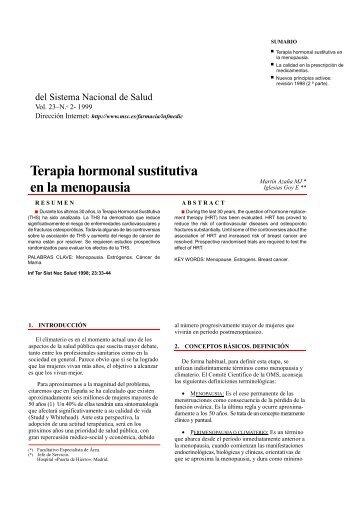 Terapia Hormonal sustitutiva en la Menopausia
