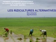 LES RIZICULTURES ALTERNATIVES - INRA Montpellier
