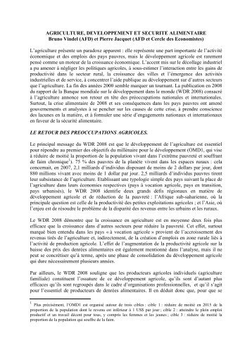 Agriculture, développement et sécurité alimentaire - Pierre Jacquet
