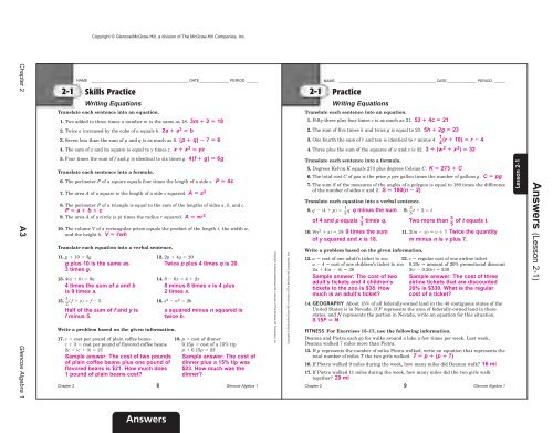Glencoe Algebra 2 Workbook Answers - MathWorksheets info