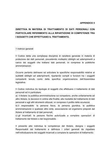 [pdf] appendice 5 direttiva in materia di - Assemblea Legislativa