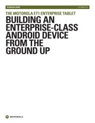 Motorola ET1 Enterprise Tablet Technical Brief - Motorola Solutions