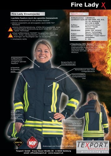 Prospekt Fire Lady Einsatzbekleidung