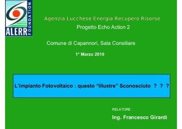 L'impianto fotovoltaico - Comune di Capannori