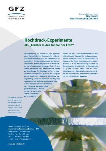 Hochdruck-Experimente - GeoForschungsZentrum Potsdam
