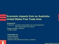 Economic impacts from an Australia– United States Free Trade Area
