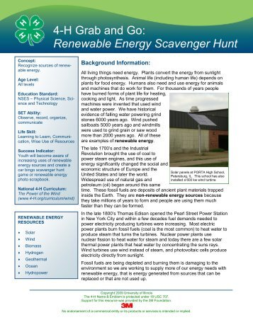 4-H Grab and Go: Renewable Energy Scavenger Hunt
