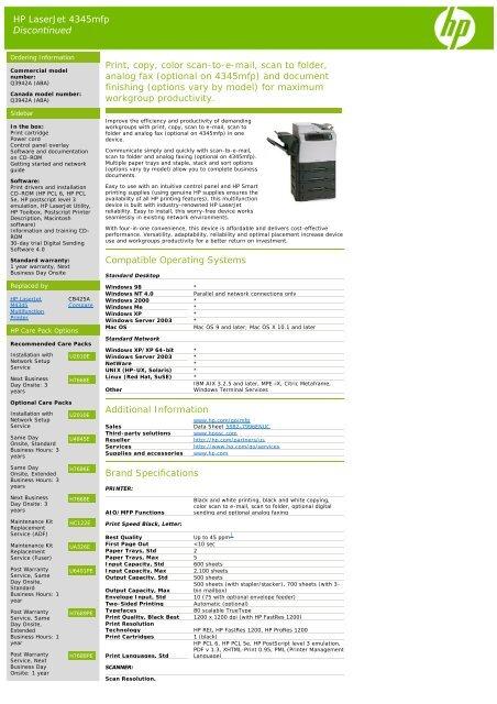 HP LaserJet 4345mfp Discontinued Print, copy, color