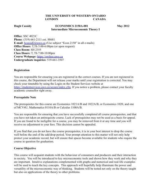 Intermediate Microeconomic Theory I - Economics - University