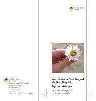 Kreisklinikum Calw-Nagold Kliniken Nagold Psychoonkologie