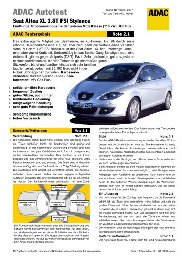 Umfassender Test Seat Altea XL 1.8T FSI Stylance - ADAC