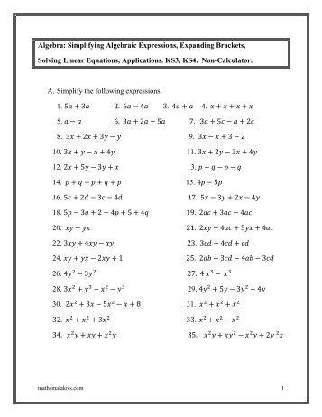 Simplify Algebraic Expressions Worksheets