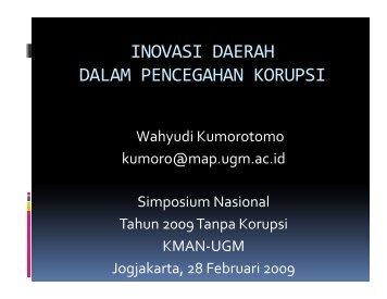 inovasi daerah dalam pencegahan korupsi - Kumoro.staff.ugm.ac.id