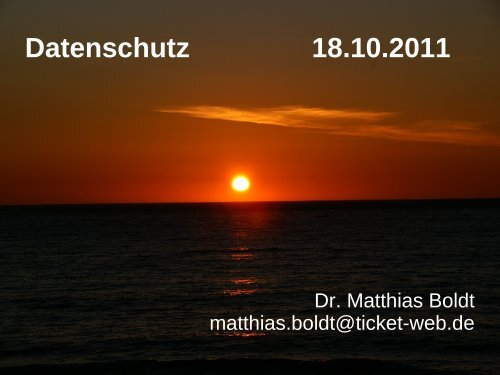 Datenschutz 18.10.2011