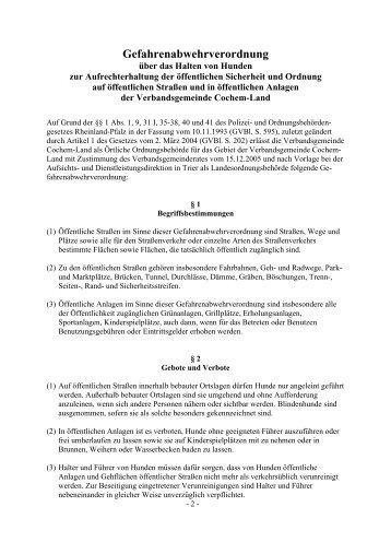 Gefahrenabwehrverordnung - Verbandsgemeinde Cochem