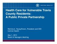 A Public Private Partnership - Central Health