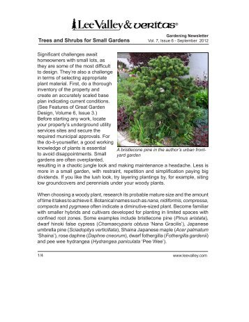 Trees and Shrubs for Small Gardens - Lee Valley Tools