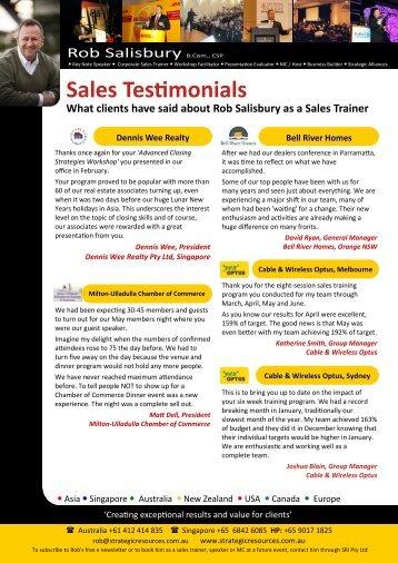 Sales Training References - Strategicresources.com.au