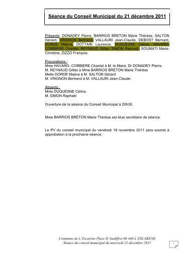 Séance du Conseil Municipal du 21 décembre 2011