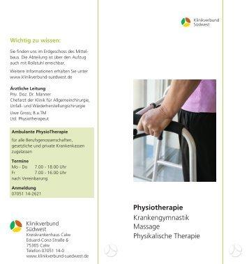 Physiotherapie Krankengymnastik Massage Physikalische Therapie