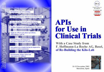 APIs for Use in Clinical Trials - Active Pharmaceutical Ingredients ...