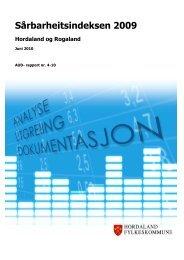 SÃ¥rbarheitsindeksen 2009-Hordaland og Rogaland Juni 2010, AUD ...