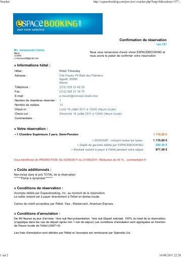 Confirmation de réservation » Informations hôtel : » Votre ... - IPEMED