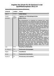 Angebot der Schule für die Seminare in der ... - GCE Bayreuth