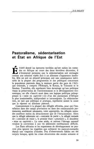 Pastoralisme, sédentarisation et État en Afrique ... - Politique Africaine