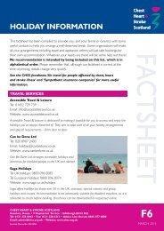 CHSS factsheet: Holiday Information - Chest Heart & Stroke Scotland