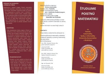 Poistná matematika - Fakulta matematiky, fyziky a informatiky