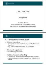 C++ Crash Kurs C++ Exceptions: Introduction - Universität zu Lübeck