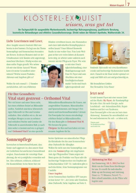 Klösterl-Journal Mai/Juni 2012 (PDF) - Klösterl-Apotheke