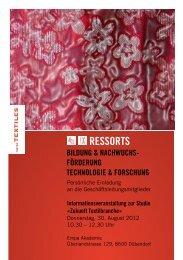 Programm mit Anmeldeformular - Textilverband Schweiz