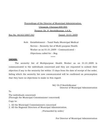 Seniority list of Multi purpose Health worker(10.01.09) - Tamil Nadu ...