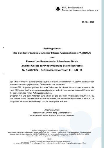 Stellungnahme zum Entwurf des Bundesjustizministeriums für ein ...