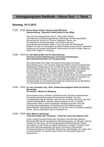 Vortragsprogramm Stadthalle – Kleiner Saal – 1 - Naturheilverein