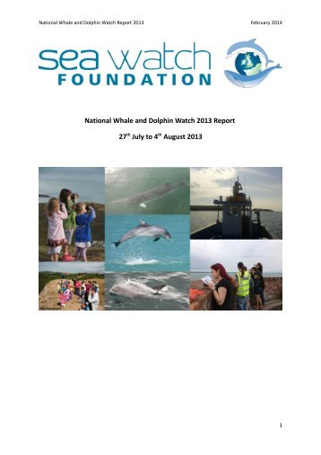 National Whale and Dolphin Watch 2013 Report 27 July to 4 August 2013