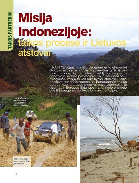 Misija Indonezijoje: - Krašto apsaugos ministerija