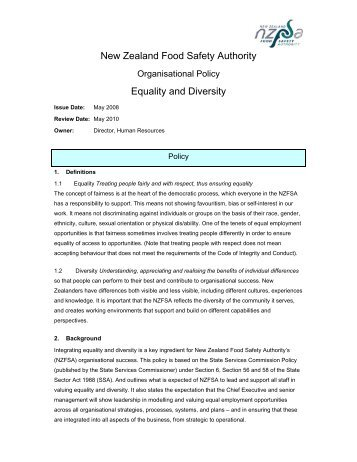 New Zealand Food Safety Authority Equality and Diversity
