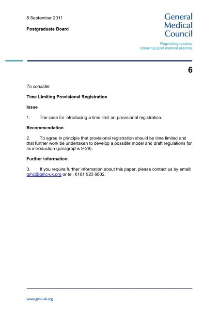 Time Limiting Provisional Registration General Medical Council