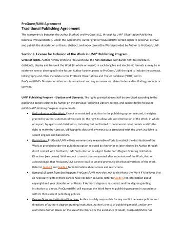 dissertation publishing agreement Electronic theses & dissertations it is important that you read and understand the ramifications of the proquest/umi agreement and any other publishing.