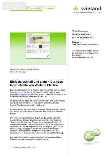 Einfach, schnell und sicher. Die neue Internetseite ... - Wieland Electric