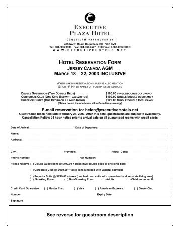 Sample Party Reservation Form Free Documents In Pdf. The Above Room Rates  Are